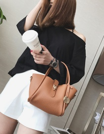 Fashion Brown Buckle Decorated Pure Color Shoulder Bag