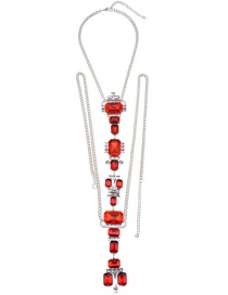 Fashion Red Square Shape Decorated Simple Body Chain
