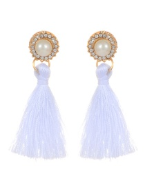Elegant White Round Diamond Decorated Tassel Earrings