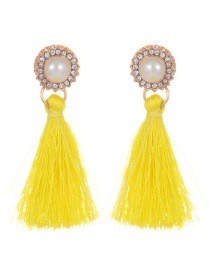 Elegant Yellow Round Diamond Decorated Tassel Earrings