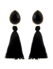 Elegant Black Waterdrop Shape Decorated Tassel Earrings