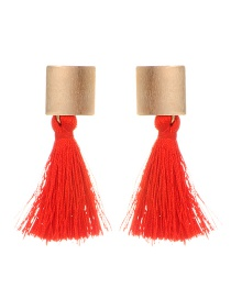Fashion Red Square Shape Decorated Tassel Earrings