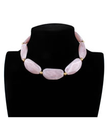 Exaggerate Pink Stone Shape Decorated Necklace