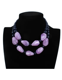 Exaggerate Purple Stone Shape Decorated Double Layer Necklace