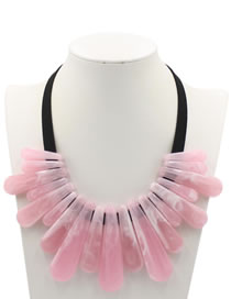 Exaggerate Pink Strip Shape Decorated Necklace