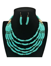 Bohemia Light Blue Pure Color Decorated Jewelry Sets