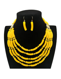 Bohemia Yellow Pure Color Decorated Jewelry Sets