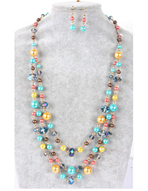 Fashion Blue Color-matching Decorated Jewelry Sets