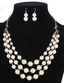 Elegant White Pure Color Decorated Multilayer Jewelry Sets