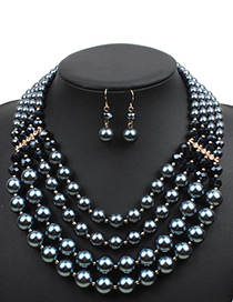 Elegant Gun Black Pure Color Decorated Short Chain Jewelry Sets