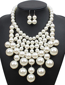Fashion White Pure Color Decorated Multilayer Jewelry Sets