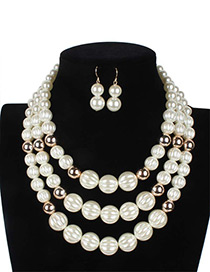 Elegant White Round Shape Decorated Multilayer Jewelry Sets