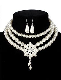 Vintage White Flower Shape Decorated Multilayer Jewelry Sets
