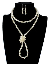 Retro White Pure Color Decorated Double Layer Jewelry Sets