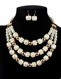 Vintage White Square Shape Decorated Multilayer Jewelry Sets
