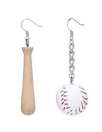 Fashion White Baseball Decorated Earrings