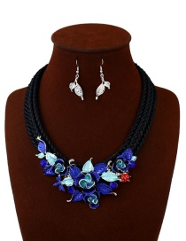 Elegant Blue Flower Shape Decorated Jewelry Sets