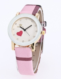 Fashion Pink Grid Pattern Decorated Pure Color Watch