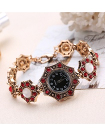Fashion Red Diamond Decorated Rhombus Shape Pure Color Watch