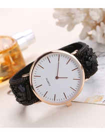 Fashion Black Round Dail Decorated Pure Color Watch