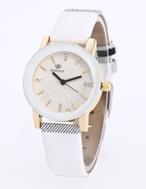 Fashion White Stripe Pattern Decorated Pure Color Watch