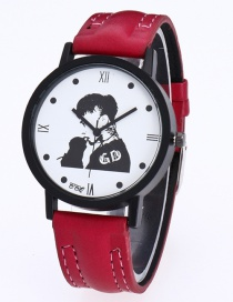 Fashion Red Gd Pattern Decorated Pure Color Watch