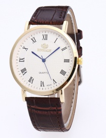 Fashion White+brown Digital Pattern Decorated Round Dail Simple Watch