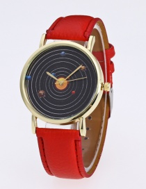 Fashion Red Planet Pattern Decorated Pure Color Watch