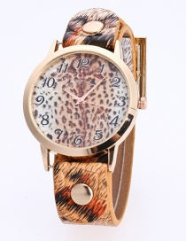 Fashion Brown Rivet Decorated Printing Leopard Pattern Simple Watch