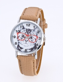 Fashion Khaki Cat Pattern Decorated Round Dail Pure Color Watch