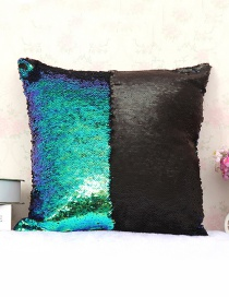 Fashion Green+black Sequins Decorted Simple Pillowcase