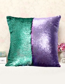 Fashion Green+purple Sequins Decorted Simple Pillowcase