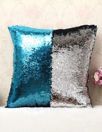 Fashion Blue+silver Color Sequins Decorted Simple Pillowcase