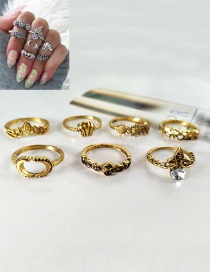 Fashion Gold Color Moon&flower Shape Decorated Simple Ring (7 Pcs)