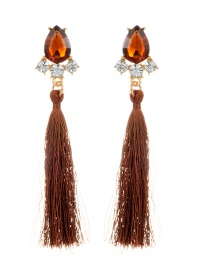 Fashion Brown Long Tassel Decorated Pure Color Earrings