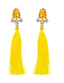 Fashion Yellow Long Tassel Decorated Pure Color Earrings