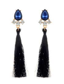 Fashion Navy Long Tassel Decorated Pure Color Earrings