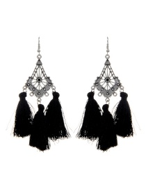 Fashion Black Long Tassel Decorated Hollow Out Earrings