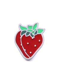 Elegant Red Strawberry Shape Decorated Simple Brooch