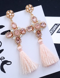 Fashion Light Pink Long Tassel Decorated Pure Color Earrings
