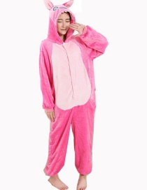 Fashion Pink Stitch Shape Decorated Simple Nightgown