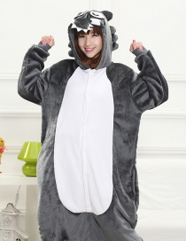 Fashion Dark Gray Timber Wolf Shape Decorated Nightgown