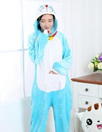Fashion Blue Doraemon Shape Decorated Nightgown