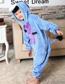 Fashion Dark Blue Donkey Shape Decorated Simple Nightgown