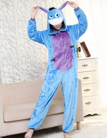 Fashion Purple+blue Donkey Shape Decorated Simple Nightgown