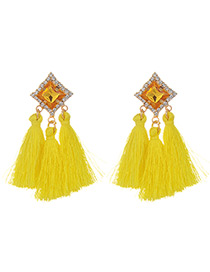 Fashion Yellow Diamond&tassel Decorated Pure Color Earrings