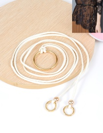 Fashion White Circular Ring Decorated Double Layer Waistband