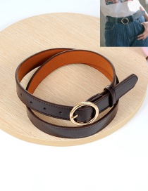 Fashion Coffee Circular Ring Decorated Pure Color Waistband