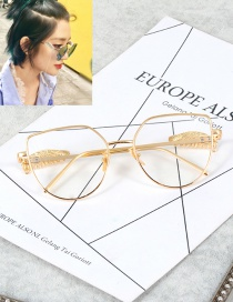 Fashion Gold Color Wings&chains Decorated Pure Color Glasses
