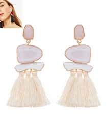 Fashion Beige Tassel&geometric Shape Decorated Earrings